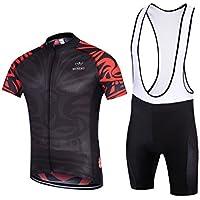 MYNEKO Mens Short Sleeve Cycling Jersey 3D Padded Bib...
