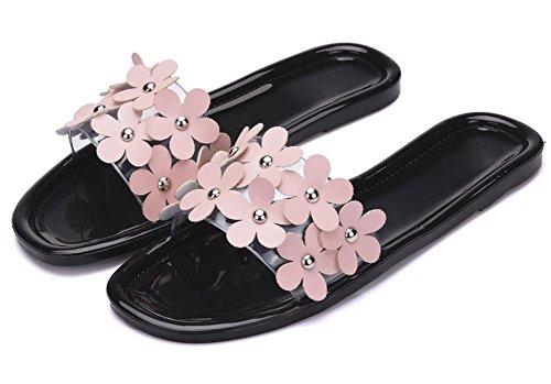 Sandalen und Pantoffeln weiblichen Sommer Sand das Wort Pantoffeln Frauen mit flachem Boden geschleppt ausbreiten Drag Black