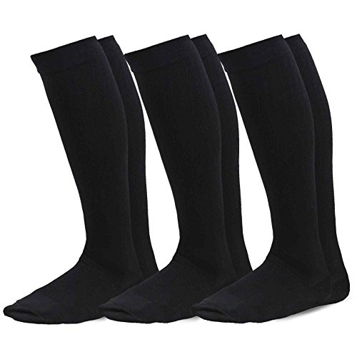 TeeHee Microfiber Compression Knee High Socks with Rib 3-Pack (Large (10-13), Black)