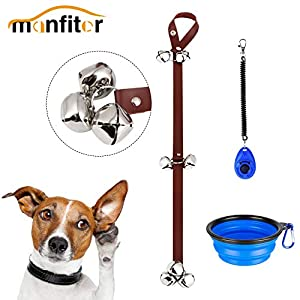 Manfiter Dog Doorbell for Potty Training with Collapsible Dog Bowl and Dog Clicker and Potty Waste Bag Dispenser with 15 Count Bags, Bells for Puppy Training 32