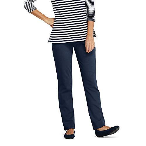 (Lands' End Women's Petite Sport Knit Elastic Waist Pants High Rise, L, Classic Navy)