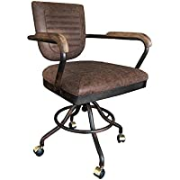 Urban9-5 Vintage Inspired Desk Chair, Brown