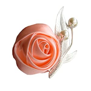 Jackcsale Boutonniere Bridegroom Groom Men's Boutonniere Boutineer with Pin for Wedding, Prom, Homecoming Orange Pink Pack of 4 70