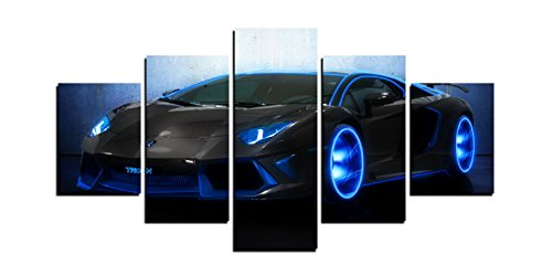 Modern Home and Office Wall Decor 5 Panels Canvas Prints Blue Racing Car Photos to Prints Painting on Canvas (12x16inchx2/12x24inchx2/12x32inchx1)