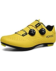 Delta Cleats Peloton Zapatos De Los Hombres De Bicicleta De Carretera Zapatos De Ciclismo De Interior Ciclo Spinning Zapatos De Bicicleta 3 Pernos SPD-SL Zapatos De Ciclismo, 007_amarillo, 11.5