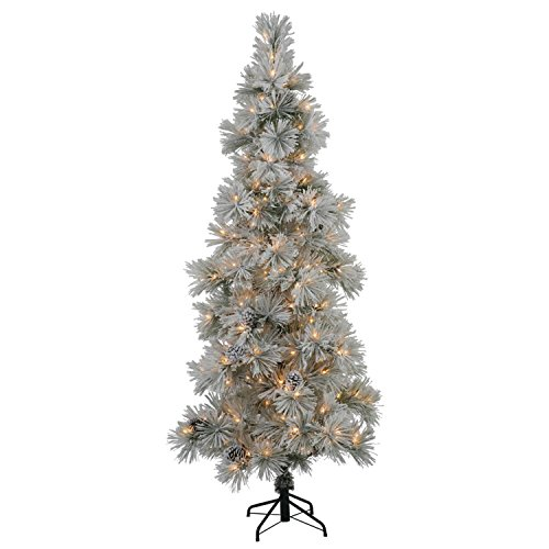 Vickerman 7' Slim Flocked Stone Pine Silver Colored Artificial Christmas Tree - Clear Dura Lights