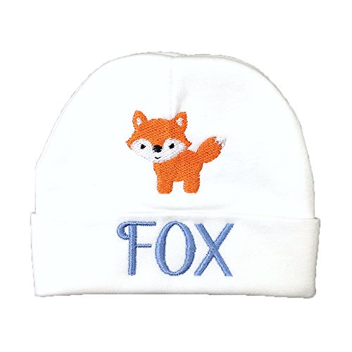 Custom Baby Boys hat with Embroidered Fox, Custom Preemie boy hat, Custom Newborn boy hat, Baby boy Beanie (0-3 Months) - Hats Monogrammed Baby