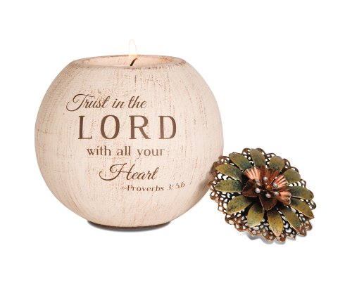 Lord Glass Candle Holder - Pavilion Gift Company 19001 Light Your Way Terra Cotta Candle Holder, Trust in The Lord, 4-Inch