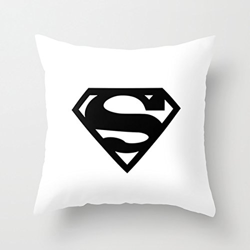 CqxinFuxi Throw Pillow Case Superman Black & White Logo (Superhero) Hold Pillow Case with Soft and Comfortable Felling for Decoration Articles Back ()