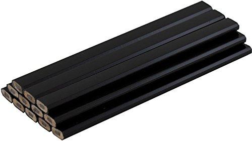 Pencils Black Wood (Black Carpenter Pencils - Bag of 12 - Ten Color Choices)
