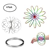 AComon Flow Ring Rainbow 4 Pack Flow Rings Kinetic Spring Toy Interactive 3D-Shaped Magic Flow Ring Game Toy for Kids Adult (2 Silver+2 Rainbow)
