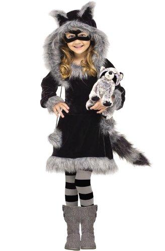 Fun World Costumes Baby Girl's Sweet Raccoon Toddler Costume, Black/Grey, Small (3T-4T)
