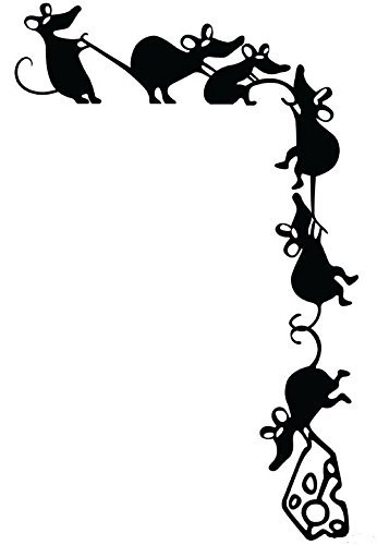 D2dOutlet Climbing Cheese Thieves Rat Silhouette Vinyl Wall Decal Mice Sticker MiceDecal-17