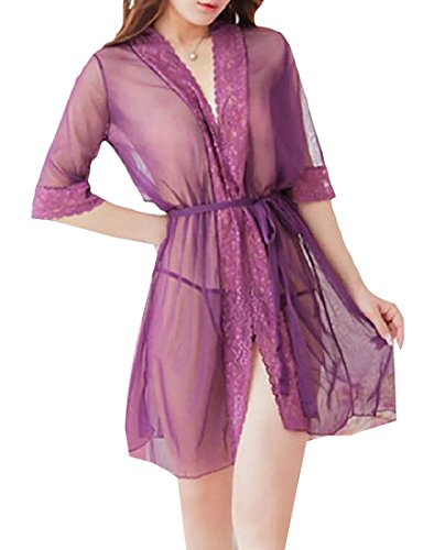 Comfy Women's Sexy Kimono Spa Mesh Bathrobe-Super Hot Purple OS (Egyptian Girl Sexy)