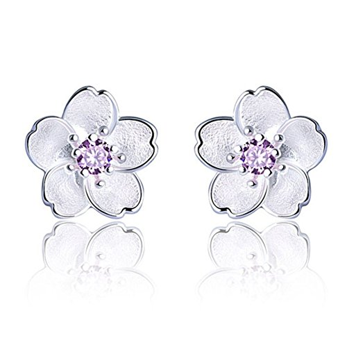I'S ISAACSONG Girls Hypoallergenic Sterling Silver Flower Stud Earrings, Cubic Zirconia Crystal Charm Piercing Studs for Women - Daisy, Sunflower, Cherry, Rose (10mm Purple Stud Earrings) ()