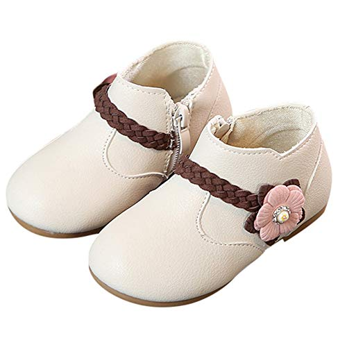 (Baby Toddler Girls Princess Shoes Fall Winter Boots for 1-6 Years Old,Kids Solid Flower Weave Zip Casual Shoes (5-5.5 Years Old, Beige))
