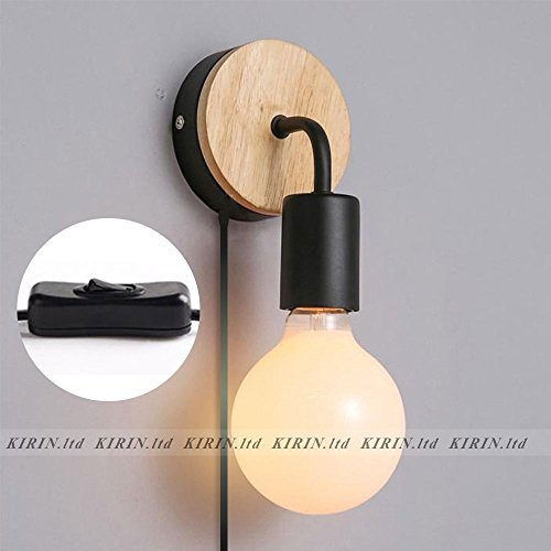 2-Pack of Minimalist Wall Light Sconce Plug-In E26/27 Base Modern Contemporary Style Task Wall Lamp Fixture for Bedroom, Closet, Guest Room Hall Night Lighting Reading Lamp (Black) - Guest Room Lamp
