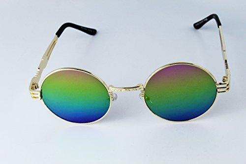 E3086-EC Round Celebrity Hipster Steampunk Metal Sunglasses w/case 5