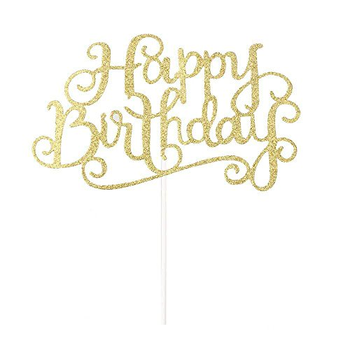 Elehere Happy Birthday Cake Topper Glitter Letters Shining Flags Banner Decorations Tool Party Supplies Ideas (Glitter Gold)