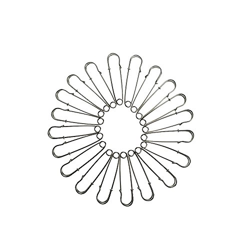 Bilipala Silver Color Metal Safety Pins Brooches for Handcrafts, 2.4 Inch, 20 (Old Metal Pin)