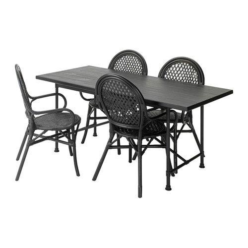 Ikea Table and 4 chairs, black, rattan black 8204.2817.1422
