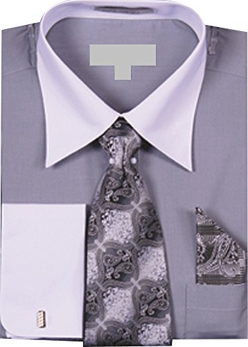 (Men's Solid Dress Shirt with a Varying Tie and Hanky Set with White Collar and French Cuffs - Silver 17.5 36-37)
