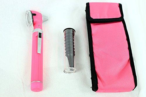 BDEALS Fiber Optic Otoscope Mini Pocket Pink Medical Ent Diagnostic Set