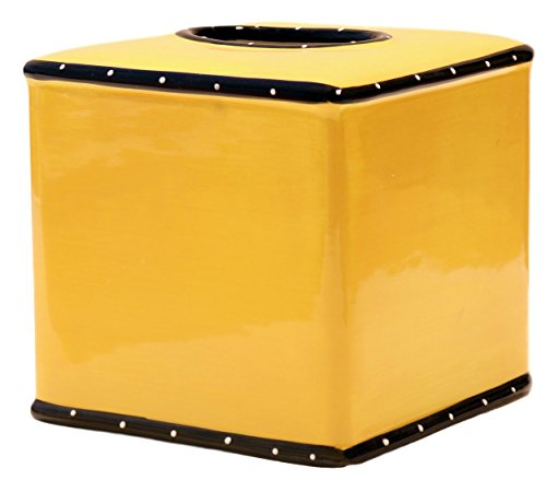 (Tuscany Ruffle Butterscotch Yellow Ceramic Tissue Box Cover, 85587 by ACK)