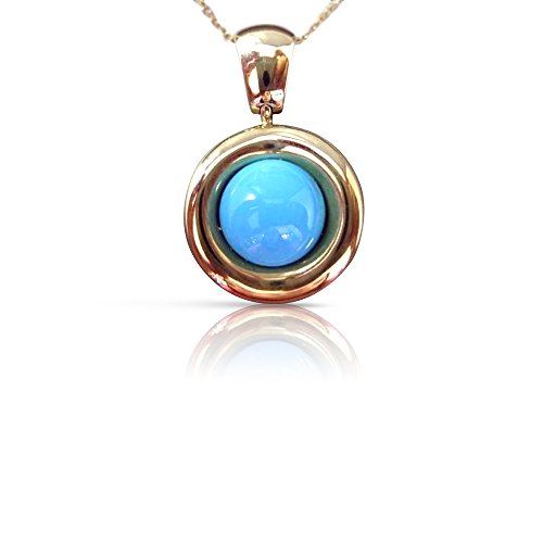 Milano Jewelers ROUND AAA SOLITAIRE TURQUOISE 14KT YELLOW GOLD HANGING PENDANT #21377