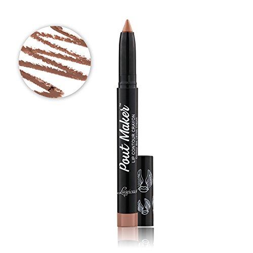 - Luscious Cosmetics Pout Maker Contouring Lip Crayon || Matte Lip Liner Contour Makeup - Vegan & Cruelty Free (Perky)
