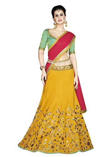 Threads of india Lehenga for partywear choli bollywood lehenga choli Gorgeous Mustard Colored Silk Lehenga
