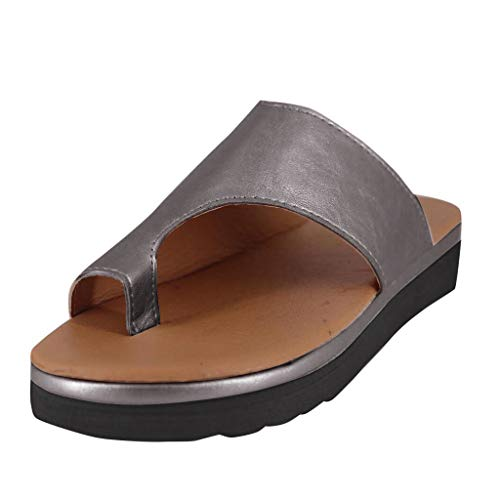 Matasleno Women's Cutout Belt Wedges Sandals Platform Faux Leather Cork High Heels Gray