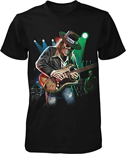 Hoodteez Skeleton, Electric Guitar, Texas Blues Men's T-Shirt, L Black -