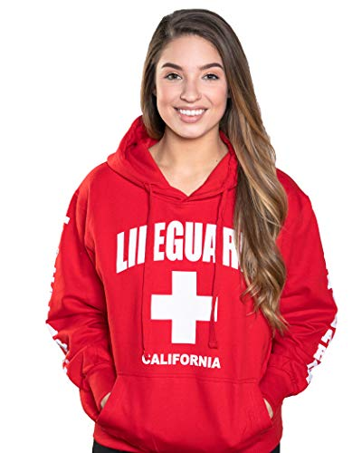 LIFEGUARD Officially Licensed Ladies California Hoodie Sweatshirt Apparel for Women, Teens and Girls, Medium, Red