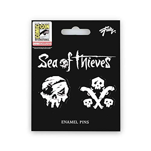 Sea of Thieves Skull & Gun Pins | Exclusive Just Funky Enamel Collector Pins | Set of 2 Black