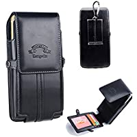 Hengwin Hwin Leather Case Belt Holster with Clip and Built-in ID Card Slot Wallet for Apple iPhone 8 Plus/7 Plus (Black)