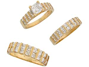 Amazon.com: Jewelry Liquidation 14k Yellow Gold White CZ