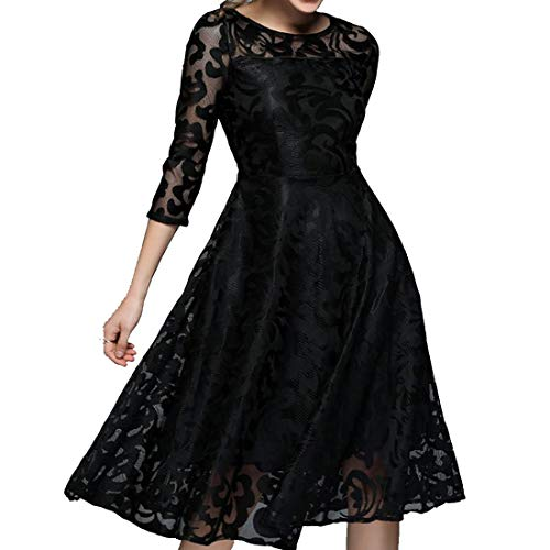 Da Vestito Donna color Maniche Black Cerimonia Lunghe Red Girocollo Corte Jiuyizhe Size Lunghezza Abito Abiti A 4 S Media 3 Floreale SPqawxfZ