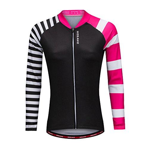 マニアック別々に通路Dovewill サイクリングウェア 女性  ロングスリーブ トップ シャツ バイク ジャージー スポーツウェア ポリエステル  全4サイズ