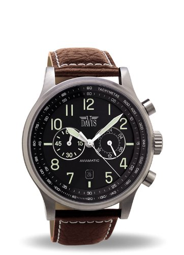 Davis 1021 - Reloj Aviación Hombre Hombre 42mm Cronógrafo Sumergible 50M Correa de Piel Marrón: Amazon.es: Relojes