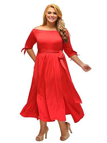 Col Bateau De Designer97 Mode Femme Manches Demi Attachée Taille Robe Fendue Lâche Rouge
