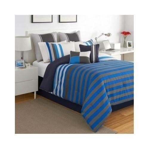 Modern Teen Boys Blue Striped Comforter Bedding Set