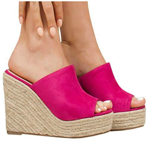 LAICIGO Womens Platform Wedge Sandals High Heel Slip on Peep Toe Cork Mules Slides
