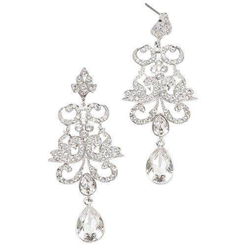 Pave Crystal Filigree Earrings Style E-JOLAN, ()