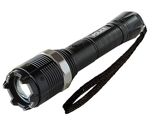 POLICE Stun Gun 8800-58 Billion Metal Heavy Duty - Rechargeable with LED Zoom Tactical Flashlight - Heavy Duty Metal Flashlight