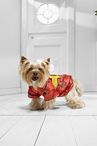 Toy Dog Kimono For Yorkie Pom Chihuahua Papillon Maltese Shih Tsu Lhasa Apso (Small Toy Size, red, yellow)