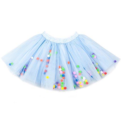 Moomintroll Baby Toddlers Girls Pettiskirt Dress 4 Super Soft Layers Rainbow Pom Pom Puff Balls Tutu Skirt with Headband (3-4 Years, Sky (Light Blue Pom Pom)