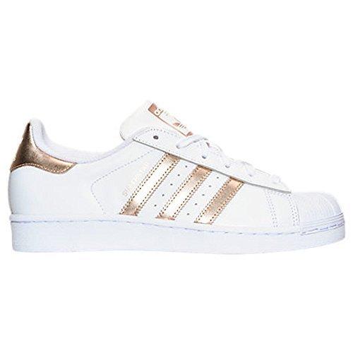 adidas Originals Women's Superstar W Fashion Sneaker (Womens 8.5, White/RoseGold2/GoldLabel)
