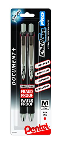 Pentel EnerGel PRO Permanent Gel Pen, (0.7mm) Medium Line, Red Ink, 2-Pk - ()