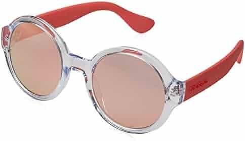 de30859727 Havaianas Floripa M 6OC 0J Crystal Clear Pink Plastic Round Sunglasses Rose  Gold Mirror Lens
